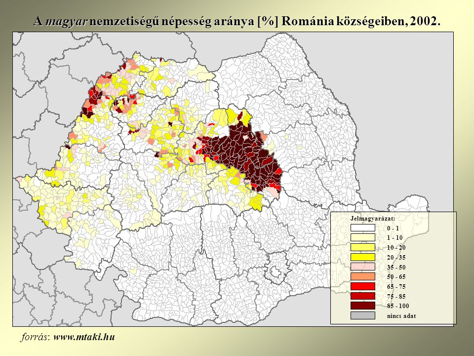 A magyar nemzetiségű népesség aránya [%] Románia községeiben, 2002.
